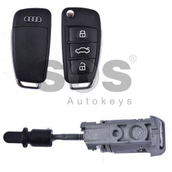 OEM Set for Audi A3/S3 Buttons:3 / Frequency: 434MHz / Transponder: Megamos88/ AES / Blade signature:HU66 / Immobiliser System:MQB / Key Part No: 8V0837220 / Set Part No: 8V2837200T/ 8V1837220R