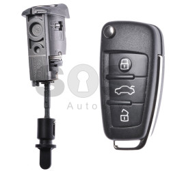 OEM Set for Audi A3/S3 Buttons:3 / Frequency: 434MHz / Transponder: Megamos 88/ AES / Blade Signature: HU66 / Immobiliser System: MQB / Set Part No: 8V2837200T/ 8V1837220R  / Key Part No: 8V0837220