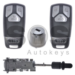 OEM Set for Audi E-TRON Buttons:3 / Frequency: 433MHz / Blade Signature: HU162T / Set Part No: 4M1800375C / Key Part No: 4M0959754BF / Keyless GO