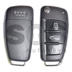 OEM Set for Audi Q2 Buttons:3 / Frequency: 434 MHz / Transponder: Megamos Crypto/ 128-bit/ AES / Blade Signature: HU162T / Immobiliser System: MQB / Set Part Number: 83B800375AK / Key Part No: 81A837220H / Keyless GO / RIGHT DOOR