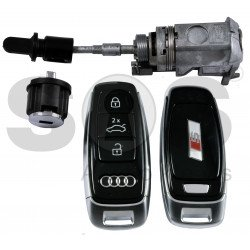 OEM Set for Audi A8/Q8 2018+  S Line Buttons:3 / Frequency:434MHz / Blade Signature:HU162T / Set Part No: 4M1 800 375 D / Key Part No: 4N0 959 754 AS / Keyless GO