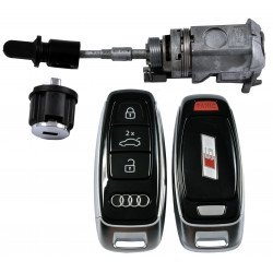 OEM Set for Audi A8/Q8 2018+  S Line Buttons:3 +1 P/ Frequency:434MHz / Blade Signature:HU162T / Set Part No: 4M1 800 375 D / Key Part No: 4N0 959 754 BF / Keyless GO