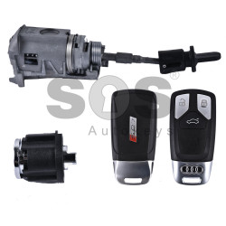 OEM Set for Audi Q7/SQ7 Buttons:3 / Frequency:433MHz / Transponder: NEW Megamos Crypto / Blade Signature:HU162T / Set Part No: 4M1800375C/ 4M0959754BC / Keyless GO