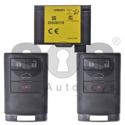 OEM Set for Cadillac Buttons:3+1 / Frequency: 434MHz / Blade Signature: HU100 / Manufacturer: OMRON / Set Part No: 25941799