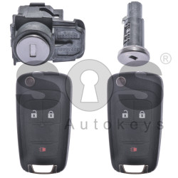 OEM Set for Chevrolet Buttons:2+1 / Frequency: 315MHz / Transponder: HITAG2/ ID46 / Blade Signature: HU100 / Manufacture: WITTE / Set Part No: 95481188