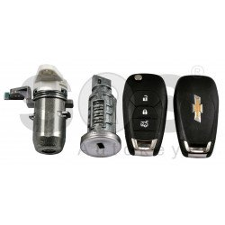 OEM Set for Chevrolet Buttons:3 / Frequency: 433MHz / Transponder: PCF:7961E/NCF296/HITAG 2 EXTENDED / Blade Signature: HU100 / Manufacture: WITTE / Part No: GM13589243