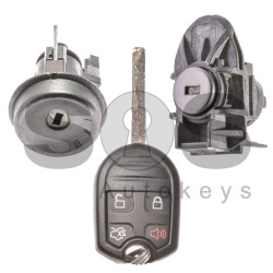 OEM Set for Ford Buttons:3+1 / Frequency: 315MHz / Transponder: TMS37145/ 80-Bit/ ID6D63 / Blade Signature: HU101 / Manufacture: FoMoCo / Part No: AE8T15K601AA