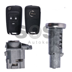 OEM Set for Opel Astra J/ Insignia Buttons:3 / Frequency: 433MHz / Transponder: PCF7937 / Blade signature: HU100 / Immobiliser System:BCM / Manufacture:Valeo / Part No:22784526