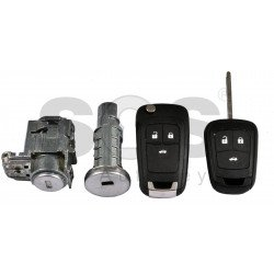 OEM Set for Opel AstraJ / Insignia Buttons:3 / Frequency: 433MHz / Transponder: PCF7937 / Blade Signature: HU100 / Immobiliser System:BCM / Part no: GM13574867