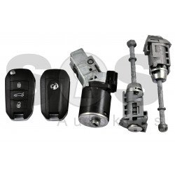 OEM Set for Peugeot Buttons:3 / Frequency: 433MHz / Transponder: HITAG AES  /  Part No:  9813617780
