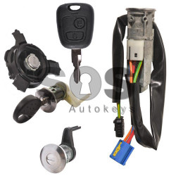 OEM Set for Peugeot 206 Buttons:2 / Frequency: 434MHz / Transponder: PCF7936/ HITAG2/ ID46 / Manufacture: Valeo / Part No: C1NKO ANMPPNN