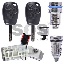 OEM Set Ren/ Dacia/ Smart Buttons:3 / Frequency: 433MHz / Transponder: PCF7961M / Blade signature:VA2 / Immobiliser System:BCM / Part No:4537602800 /  NO LOCKS FOR THE DOORS AND FOR THE GLOVEBOX