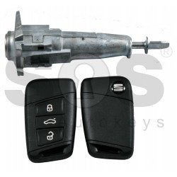 OEM Set for Seat Buttons:3 / Frequency: 433MHz / Transponder: HITAG PRO NCF29A1 / Blade Signature: HU162T / Set Part No:  575 800 375 CA / Key Part No: 3V0 959 752G / Keyless Go
