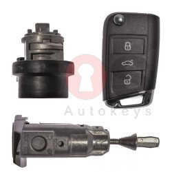 OEM Set for VW GOLF 7 Buttons:3 / Frequency: 433MHz / Transponder: MEGAMOS 88/ AES / Blade Signature:HU66 / Immobilaser system:MQB / Set Part No: 5G0800375DB / Key Part No: 5G0959753BB / RIGHT Door