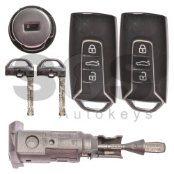 OEM Set for VW Touareg 2018+ Buttons:3 / Frequency: 434MHz / Immobiliser system: KESSY / Set Part No: 760800375D/ 760800375H / 760800375F / Key Part No: 3F0959754D / Keyless GO