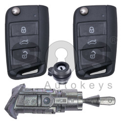 OEM Set for VW Buttons:3 / Frequency: 434MHz / Transponder: Megamos Crypto 88/ AES / Blade Signature: HU162T / Immobiliser system: MQB / Set Part No: 5NA800375CT / Key Part No: 5G6959752CF / RIGHT DOOR
