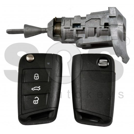 OEM Set for Seat Buttons:3 / Frequency: 434MHz / Transponder:NCP21A2W / Blade Signature: HU162T / Immobilaser system:MQB / Set Part No: 5FJ 800 375 P / Key Part No: 575 959 752 AS / Keyless GO