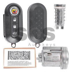 OEM Set for Abarth 500 Buttons:3 / Frequency: 433MHz / Transponder: HITAG2/ ID46/ PCF7946 / Blade Signature:SIP22