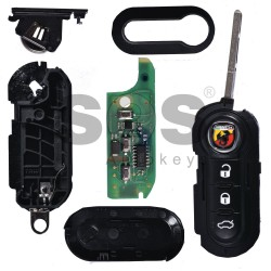 OEM Flip Key for Abarth 500 Buttons:3 / Frequency:433MHz / Transponder: HITAG2/ ID46/ PCF7946 (Locked)/ Blade signature:SIP22 / Immobiliser System:Delphi BSI