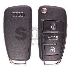 Flip Key For Audi A6 / Q7 2003 - 2015 Buttons:3 / Frequency:868 MHz / Transponder:ID8E / Part No:4F0 837 220 R / Blade signature:HU66 / Immobiliser System:Kessy