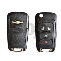OEM Flip  Key for Chevrolet Buttons:3+1 / Frequency:315MHz / Transponder:PCF 7937/HITAG2/ID46 / Blade signature:HU100 / Immobiliser System:BCM / Part No:GM13586120