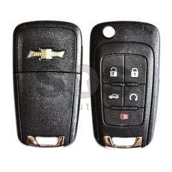 OEM Flip  Key for Chevrolet Buttons:4+1 / Transponder:PCF Type E / Frequency:433MHz / Blade signature:HU100 / Immobiliser System:BCM / Part No:13587072 / Keyless GO (Automatic Start)