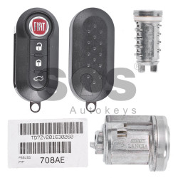 OEM Set for Fiat Buttons:3 / Frequency: 433MHz / Transponder: HITAG2/ ID46 / PCF7946 / Blade Signature:SIP22 / FCC ID: 2ADPXTRF198 / Manufacturer: Magneti Marelli