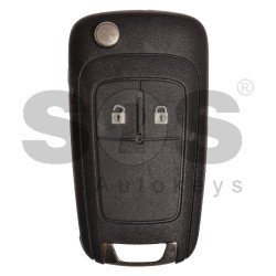 OEM Flip Key for Buick(GM) / Buttons:2 / Frequency: 315MHz / Transponder: HITAG2/ ID46 / Blade signature: HU100 / Immobiliser System: BCM / Part No: 13503658 / Keyless GO