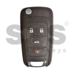 OEM Flip Key for Buick(GM) / Buttons:4 / Frequency: 315MHz / Transponder: HITAG2/ ID46 / Blade signature: HU100 / Immobiliser System: BCM / Part No: 13500225 / Keyless GO
