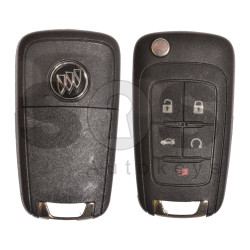 OEM Flip Key for Buick (GM) / Buttons:5 / Frequency: 315MHz /Transponder: HITAG2/ ID46 / Blade signature: HU100 / Immobiliser System: BCM / Part No: 13500224 / Keyless GO (Automatic Start)