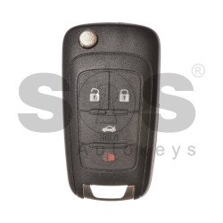 OEM Flip Key for GM / Buttons:4 / Frequency: 434MHz / Transponder: HITAG2/ ID46 / Blade signature:HU100 / Immobiliser System:BCM / Part No: GM22974116 / Keyless GO