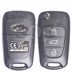 OEM Flip Key for Hyundai Buttons:3 / Frequency:433MHz / Transponder:PCF 7936/ HITAG2/ ID46 / Blade signature:HY22 / Immobiliser System:Immobiliser Box / Part.No.: 95430-2L600