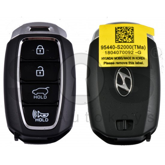 OEM Smart Key for Hyundai Santa Fe Buttons:4 / Frequency:433MHz / Transponder:HITAG 3/NCF 29A1X/ Blade signature:HY22 / Part No:95440-S2000 / Keyless Go