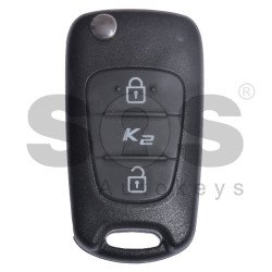 OEM Flip Key for KIA K2/RIO Buttons:2 / Blade signature:HY22 / Immobiliser System:Immobiliser Box / Part No:95430-1Y300/95430-1Y301 / WITHOUT TRANSPONDER