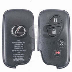 OEM Smart Key for Lexus Buttons:3+1 / Frequency: 433MHz / Transponder: Texas Crypto ID 6D - 67/68/70 / First Page: 98 / Immobiliser system: Smart Module / Part No: 89904-60852 / Keyless Go