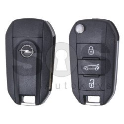 OEM Flip Key for Opel Buttons:3 / Frequency: 433MHz / Transponder: HITAG 128-bit AES / Blade signature: HU83  /Pre-cutted/ / Part No: 02.678.610 / 3641363 / 39084009 / 39084011 / 98 178 596 80