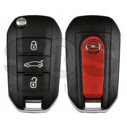 OEM Flip Key for Opel Buttons:3 / Frequency: 433MHz / Transponder: HITAG 128-bit AES / Blade signature: HU83  / Part No: 9820309377/98 203 093 77/ Red