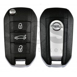 OEM Flip Key for Opel Buttons:3 / Frequency: 433MHz / Transponder: HITAG 128-bit AES / Blade signature: HU83  / Part No: 9820309877/98 203 098 77/ White color