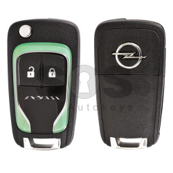 OEM Flip Key for Opel Adam Buttons:2 / Frequency:433MHz / Transponder: HITAG2 / Blade signature:HU100 / Immobiliser System:BCM / Part No: 5WK50079 (Green)