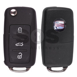 OEM Flip Key for Seat Alhambra Buttons:3 / Frequency:434MHz / Transponder:ID48/ID48CAN / Blade signature:HU66 / Immobiliser System: Dashboard UDS / Part No: 5K0837202
