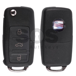 Flip Key for Seat Buttons:3 / Frequency:434MHz / Transponder:ID48/ID48CAN / Blade signature:HU66 / Immobiliser System:Dashboard / Part No: 1J0959753P (Remote Only)