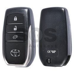 OEM Smart Key for Toyota Land Cruiser 200 Buttons:3 / Frequency:433 MHz / Transponder:TEXAS CRYPTO 128-Bit AES / First Page:A8 / Part No:89904-60K80 / Model:BJ2EW / Blade signature:TOY-94 / Immobiliser system:Smart System / Keyless Go