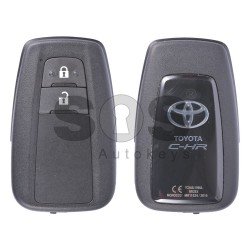 OEM Smart Key for Toyota C-HR Buttons:2 / Frequency:434MHz / Transponder: Tiris DST AES / First Page:A9 / Model:BR2EX / Blade signature:TOY-94 / Immobiliser system:Smart System / Part. No.: 89904-F4010 / Keyless Go