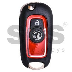 OEM Flip Key for Vauxhall Buttons:2 / Transponder: HITAG2/ ID46 / Blade signature: HU100 / (Red)