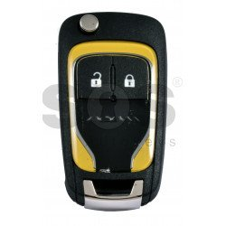 OEM Flip Key for Vauxhall  Adam Yellow Buttons:2 / Frequency: 433MHz / Transponder: PCF7937/ HITAG2/ID46 / Blade signature: HU100 / Immobiliser System: BCM / Part No: 13401818