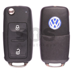 Key Shell (Complete - Flip) for VW Buttons:2 / Blade signature: HU66 / (Square) / (With Logo)