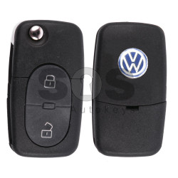 Key Shell (Complete - Flip) for VW Buttons:2 / Blade signature: HU66 / (Round) / (With Logo)