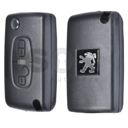 Key Shell (Flip) for Peugeot 4007 Buttons:2 / Blade signature: MIT8 / (With Logo)