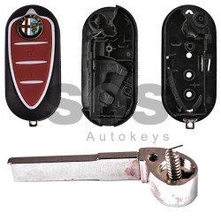 Key Shell (Flip) for Alfa Romeo Buttons:3 / Blade signature: SIP22 / (With Logo) New type