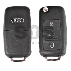 Key Shell (Flip) for Audi A8 4E Buttons:3 / Blade signature: HU66 / (With Logo)
